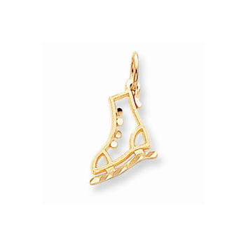 Solid 10k Yellow Gold Ice Skate Charm Pendant
