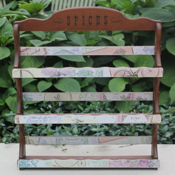 Vintage wood spice rack with shabby chic Parisian decoupage