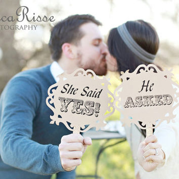 Photo props for engagements & weddings - He Asked, She Said Yes - vintage inspired, romantic - set of 2