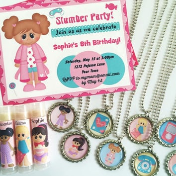 Girl Birthday Party Favors/Slumber Party/Party Favors/ Sleepover Birthday/Girl Birthday Party Invitations/Lip balm/Sleepover Party -Set of 5