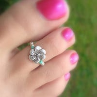 Toe Ring, Silver, Metal, Dancing Flower Bead Toe Ring