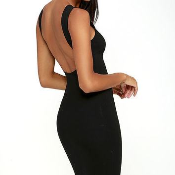 Like a Lady Black Backless Midi Dress