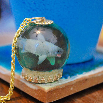 Shark Tank Aquarium Necklace on Gold Chain