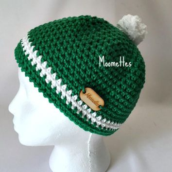 Handmade Bright Green Beanie White Stripe Crochet Cotton Hat Womens Cap
