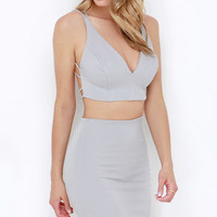 Citified Light Grey Bodycon Two-Piece Dress