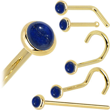 Solid 14KT Yellow Gold 2mm Lapis Lazuli Straight Nose Ring