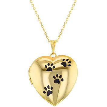 My Dog Paw Prints Animal Love Photo Pendant Heart Locket Necklace 19""