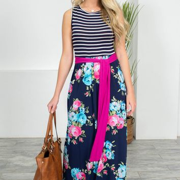 Poppy Floral Navy Maxi Dress