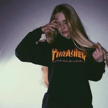 THRASHER Monogram Print Cotton Long Sleeve T-Shirt Tee Top