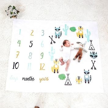 Baby Blanket Newborn Swaddle Stroller Bedding Wrap Photo Background Monthly Growth Number Photography Props Outfits