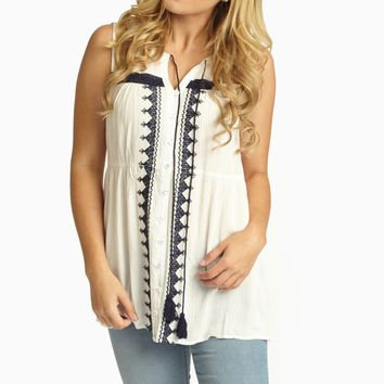 White Navy Embroidered Button Up Linen Tank Top