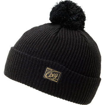 Obey Old Timey Black Pom Fold Beanie at Zumiez : PDP