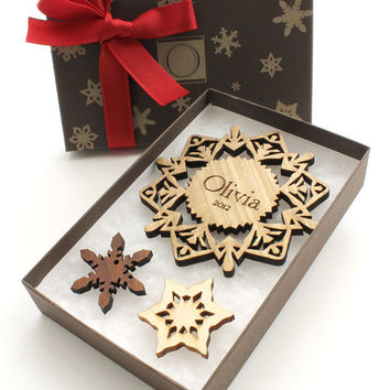 Custom Ornament Gift Box Set - Wood Snowflake Ornament in a Monogram Gift Box . Sustainable Wisconsin Wood - Timber Green Woods