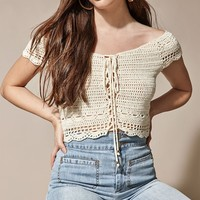 LA Hearts Off-The-Shoulder Crochet Sweater Top at PacSun.com