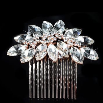 Stylish Pearls Crown Wedding Dress Accessory Brush [6044664705]