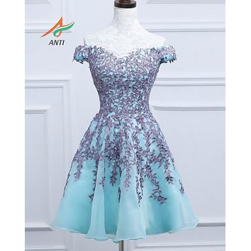 ANTI Elegant Mint cocktail dress 2017 Appliques V-Neck Cocktail Party Gowns  Off the Shoulder sexy Above Knee, Mini KLM20163