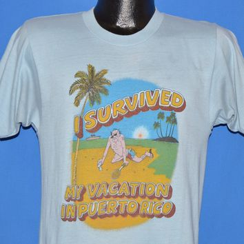 80s I Survived My Vacation In Puerto Rico t-shirt Small