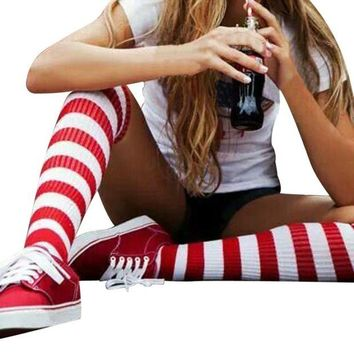 DCCK2JE GBSELL Fashion Women Girl Red and White Striped Kntting Thigh-High Warm Socks