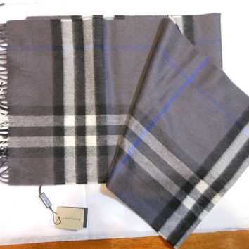 New Auth  Burberry Giant Check Cashmere Scarf Muffler, Pewter