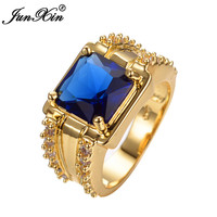 JUNXIN Big Fashion Blue Jewelry Yellow Gold Filled Crystal Vintage Wedding Rings For Men And Women Bijoux Femme Anillos