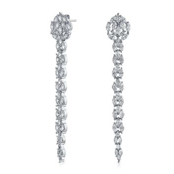 Linear CZ Chandelier Prom Pageant Statement Earrings Silver Plated