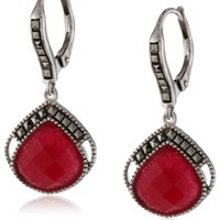 "Judith Jack ""Red Flamenco"" Sterling Silver, Marcasite and Ruby Onyx Drop Earrings"