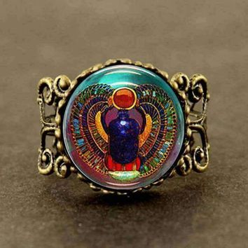 VINTAGE Scarab Glass Tile Ring Egyptian jewelry steampunk  5.00% Off Auto renew