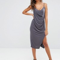 ASOS Tall | ASOS TALL Crepe Wrap Midi Slip Dress at ASOS