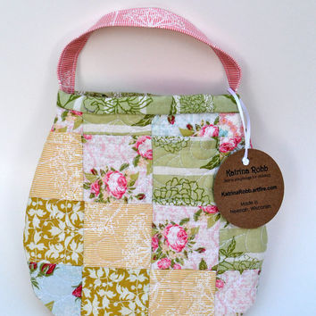 Handmade quilted toddler purse in pastel patchwork by PotatoBlossomStudio
