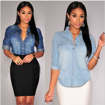 Turn-down Collar Casual Women Polo Shirts Cropped Jeans Plus Size Cowboy Girl Shirt Polo OL Female Crop Top Loose Autumn