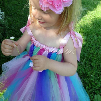 Butterfly tutu dress – raibow tutu dress – flower girl tutu – baby tutu dress – empire waist tutu – birthday tutu dress – wedding tutu dress