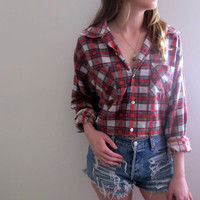 Plaid Shirt Flannel Womens Cropped Crop Top Tunic Button Up Down Red Grunge Size Medium Baggie Oversized Western