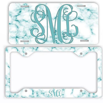 White Teal Marble Look License Plate Car Tag Monogram Frame Personalized Set Custom Initials Car Coasters Aqua Turquoise