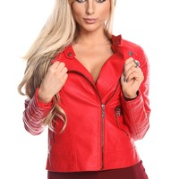 RED FAUX LEATHER ZIP UP OUTWEAR JACKET