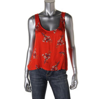 Minkpink Womens Scoop Neck Floral Print Casual Top