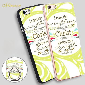 Minason Christian Verse Philippians Mobile Phone Shell Soft TPU Silicone Case Cover for iPhone X 8 5 SE 5S 6 6S 7 Plus