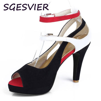 Big Size 32-43 Fashion Party Red Sole Shoes Woman Sexy Red Bottom High Heels Summer Pumps Ankle Strap Sandals Women Shoes AA368