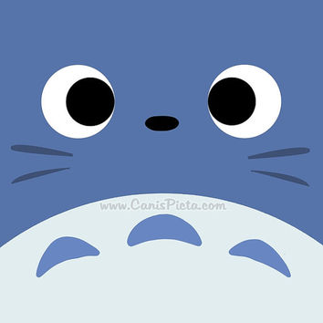 Blue Totoro Kawaii My Neighbor Square 8x8 Pop Art Print Anime Middle Manga Troll Hayao Miyazaki Studio Ghibli Gift Wall Home Decor