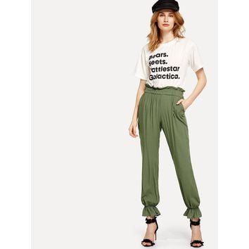 Line Em Up Ruffled Pants - Army Green