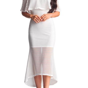 Chicloth White Sheer Mesh Striped Overlay Slinky Party Dress