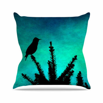 "Sylvia Coomes ""Bird Silhouette"" Teal Black Throw Pillow"