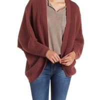 Mauve Waffle Knit Cocoon Cardigan by Charlotte Russe
