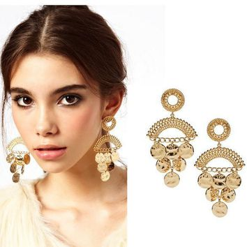 Personality exaggerated ethnic style golden disc drops drop earrings
