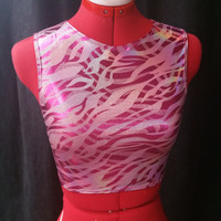 READY TO SHIP Pink Striped Holographic Sleeveless Stretch Crop Top