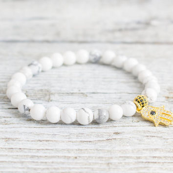 White howlite beaded stretchy bracelet with micro pave gold Hamsa hand charm, made to order bracelet,  mens bracelet, womens bracelet