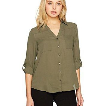 A Byer Juniors Young Womens Teen Button Down Shirt with RollTab Sleeves