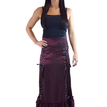 Gothic Victorian Steampunk Burgundy Long Sateen 3-way Corset Skirt