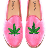 Prince Albert Bubblegum Pink Velvet Slipper Loafers With Cannabis Leaf by Del Toro - Moda Operandi
