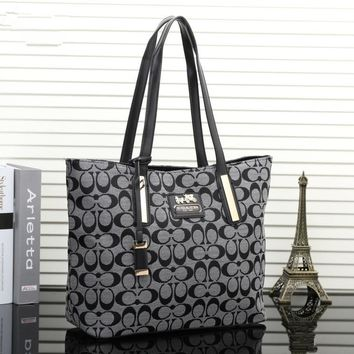 """Coach"" Women Casual Fashion Classic Logo Print Single Shoulder Bag Handbag Large Capacity Tote Shopper Bag"