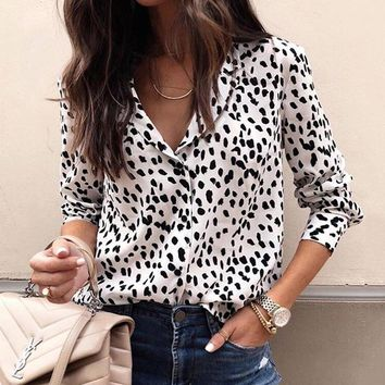 Fashion Women Long Sleeve Leopard Blouse V Neck Shirt Ladies Ol Party Top Dames Streetwear Blusas Femininas Elegante Plus Size